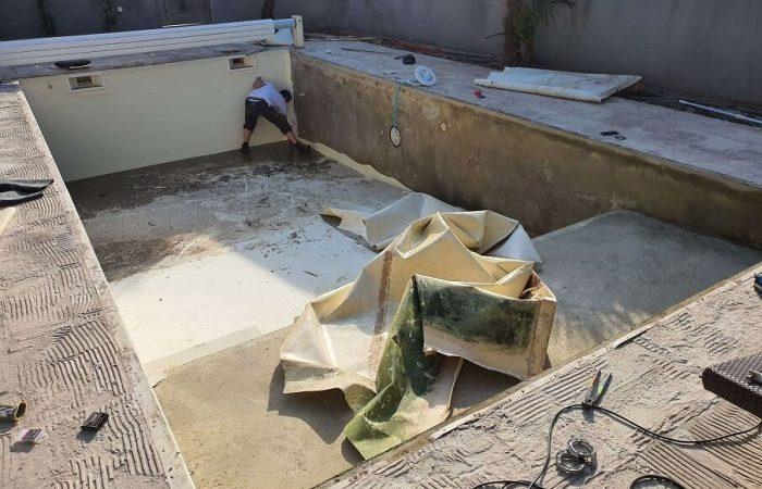 rénovation piscine dépose du pvc